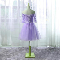 Lilac Short Tulle Appliques Homecoming Dress with Half Sleeves Custom Made Cute Short Cocktail Dress Fashion Short School Dance Dresses Short Women's Fashion Dresses HD185