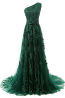 Elegant One Shoulder Lace Prom Dress Fashion Dark Green Evening Dress PD079