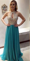 Sparkly Beaded Chiffon Long Prom Dress 2019 Custom Made Beadings Graduation Party Dress Fashion Open Back School Dance Dress PD541