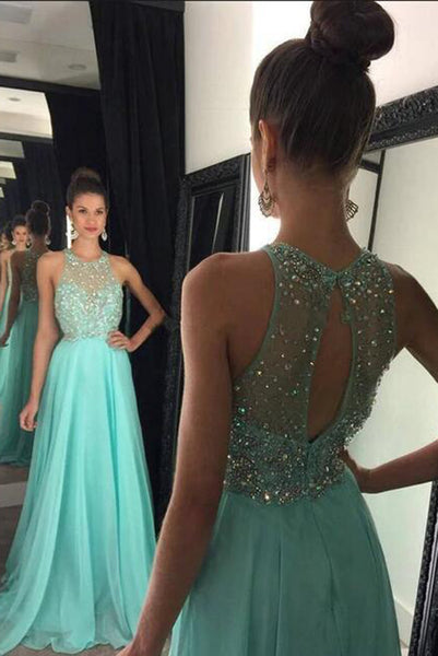 Fashion Open Back Beaded Chiffon Prom Dress 2019 Custom Made Long Graduation Party Dress PD180