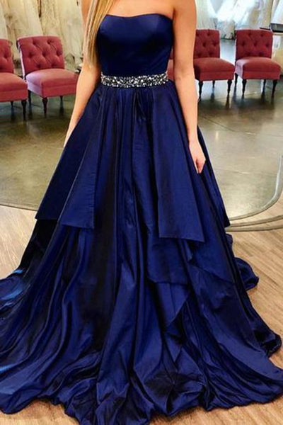 Cuatom Made Strapless A-Line Prom Dress with Beaded Waist Fashion Royal Satin Long Evening Party Dress PD195