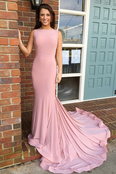 Elegant Mermaid Pink V-Back Prom Dress Custom Made Fashion Long Evening Gowns PD221
