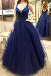 Fashion V-Neck Tulle Prom Dress with Beaded Waist Custom Made Long Navy Evening Gowns PD197