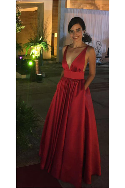 Simple Sexy Red Deep V-Neck Prom Dress Custom Made Fashion Backless Long Party Gowns PD207
