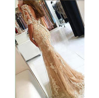 Elegant Mermaid Appliques Prom Dress with Half Sleeves Custom Made Fashion Tulle Long Evening Gowns PD300