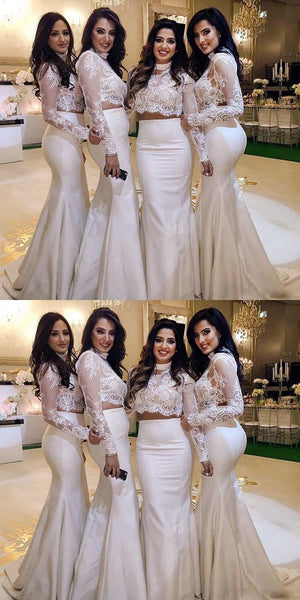 Mermaid 2 Pieces Long Bridesmaid Dress with Full Sleeves Custom Made Fashion Long Satin Lace Wedding Party Dresses BD093
