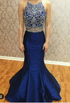 Two Piece Satin Royal Blue Prom Dress Sexy Mermaid Beaded Evening Dress PD023