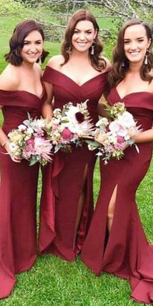 Custom Made Mermaid Side Slit Bridesmaid Dress Fashion Long Satin Formal Dress BD023