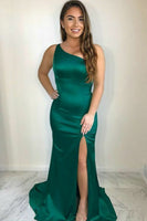 Custom Made Simple One-Shoulder Prom Dress Long Mermaid Satin Evening Dress PD173