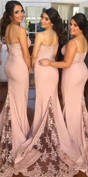 Sweetheart Sweep Train Bridesmaid Dress Satin Mermaid Lace Formal Dress BD001