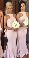 Custom Made Sexy Backless Bridesmaid Dress Sweep Train Mermaid Formal Dress BD018