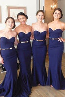 Simple Sweetheart Satin Bridesmaid Dress Royal Blue Mermaid Formal Dresses BD012