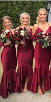 Sexy V-Neck Mermaid Long Bridesmaid Dress 2019 Custom Made Satin Burgundy Wedding Party Dresses BD060