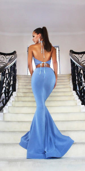 Simple Sexy 2 Pieces Long Prom Dress Custom Made Long Mermaid Evening Gowns Fashion Long Backless School Dance Dress Women's Formal Dresses PD858