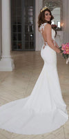 Mermaid Sweetheart Appliques Bridal Wedding Dress with See Through Bodice Custom Made Fashion Long Bridal Gowns WD009