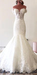 Sweetheart Long Mermaid Bridal Gowns with Off Shoulder Straps Custom Made Fashion Long Lace Wedding Dresses WD017