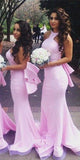 Custom Made Sexy Backless Bridesmaid Dress Sweep Train Mermaid Formal Dress BD019