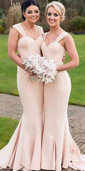 Sweetheart Mermaid Bridesmaid Dress with Straps Custom Made Long Wedding Party Dresses BD069