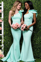 Mermaid Long One Shoulder Bridesmaid Dress Custom Made Fashion Long Satin Wedding Party Dresses BD100