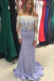 Mermaid Full Sleeves Prom Dress with Appliques Custom Made Fashion Satin Long Formal Evening Dress PD316
