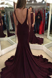 Sexy Open Back Mermaid Long Prom Dress Custom Made Fashion Burgundy Evening Gowns PD263
