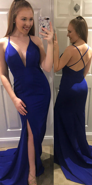 Spaghetti Straps Long Royal Blue Prom Dress Custom Made Long Side Slit Evening Gowns Fashion Long School Dance Dress Women's Pagent Dresses PD888