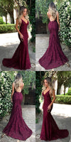 Sexy Mermaid Long Lace Prom Dress Custom Made Long Spaghetti Straps Evening Gowns Fashion Long School Dance Dress Women's Pagent Dresses PD917