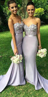 Sweetheart Satin Lace Bridesmaid Dress Sweep Train Mermaid Formal Dress BD005