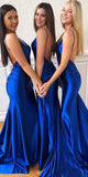 Sexy Mermaid Backless Long Bridesmaid Dress with Spaghetti Straps Custom Made Royal Blue Wedding Party Dresses BD058