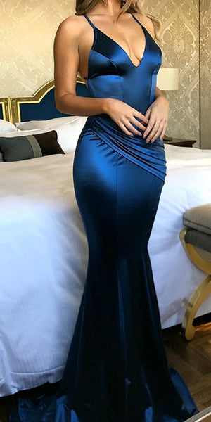 Dark Royal Blue Long Prom Dress with Spaghetti Straps Custom Made Long Mermaid Evening Gowns Fashion Long Backless School Dance Dresses PD695