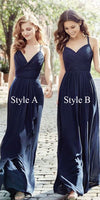 Simple Navy Chiffon Bridesmaid Dress with Straps Custom Made Long Wedding Party Dresses BD077