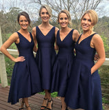 Custom Made Simple V-Neck Satin Bridesmaid Dress Fashion A-Line Short High Low Wedding Party Dresses BD032