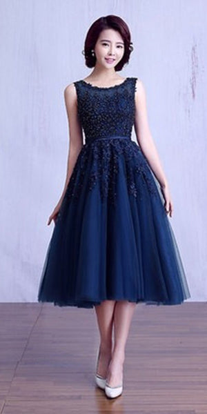 Navy Tulle Appliques Short Prom Dress with Beadings Custom Made Short Party Dress Cute Knee Length Homecoming Dress Fashion Short Graduation Party Dress PDS008