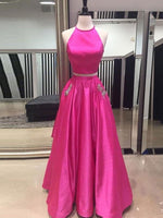 2 Pieces Long Prom Dress with Beaded Pockets Custom Made Long Evening Gowns Fashion Long Two Pieces School Dance Dresses PD777