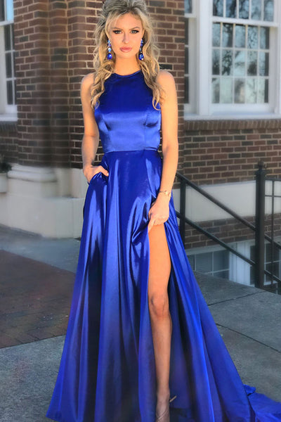 Simple Sexy High Side Slit Royal Blue Satin Prom Dress Custom Made Long Evening Party Dresses Fashion Formal Dresses PD411