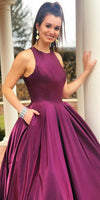 Simple Grape Satin Long Prom Dress 2019 Custom Made Cross Back Evening Party Dress Fashion Long A-Line School Dance Dress PD521