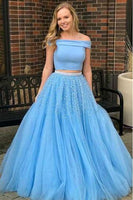 Off Shoulder Long Beaded 2 Pieces Prom Dress Custom Made Long Beadings Draduation Party Dress Fashion Long School Dance Dress Women's Formal Dresses PD861
