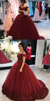 Off Shoulder Long Appliques Bridal Gowns Custom Made Fashion Long Tulle Wedding Dresses WD019