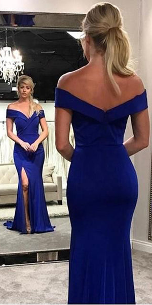 Off Shoulder Long Side Slit Prom Dress Custom Made Long Evening Dress Fashion Long School Dance Dress Women's Formal Dresses PD872