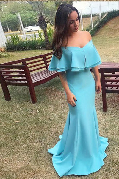 Elegant Mermaid Off Shoulder Blue Prom Dress Custom Made Fashion Long Formal Evening Gowns PD362