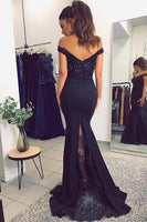 Mermaid Off Shoulder Beaded Long Prom Dress with Appliques Fashion Beadings Evening Party Gowns PD338