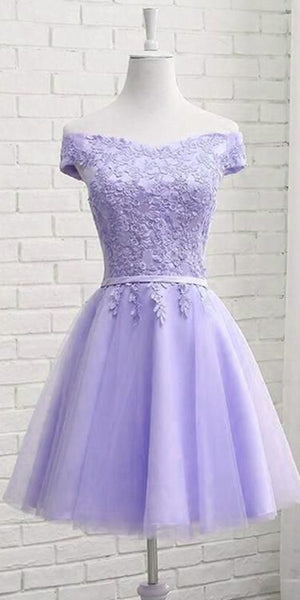 Off Shoulder Short Lilac Tulle Appliques Homecoming Dress Custom Made Cute Short Cocktail Dress Fashion Short School Dance Dresses Short Women's Fashion Dresses HD186