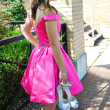 Off Shoulder Short Homecoming Dress with Beaded Waist Custom Made Cute Cocktail Party Dress Sweet 16th Dresses Fashion Short Beadings School Dance Dresses HD091