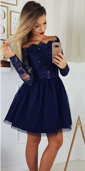 Off Shoulder Short Prom Dress with Full Sleeves Beaded Tulle Appliques Short Party Dress Cute Homecoming Dress Short Graduation Party Dress Sweet 16th Dress PDS002