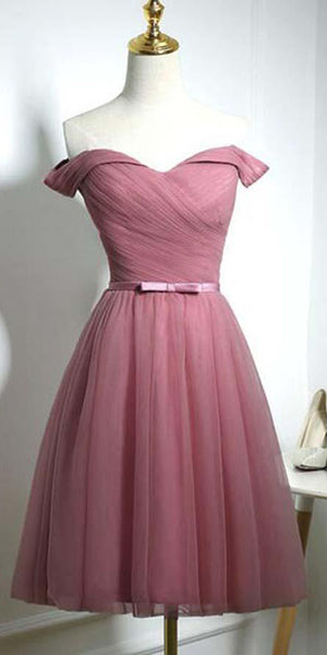 Simple Off Shoulder Short Prom Dress Custom Made Short Homecoming Dress Fashion Short Tulle School Dance Dress PDS063