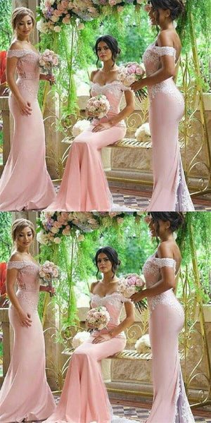 2020 Off Shoulder Long Mermaid Bridesmaid Dresses Custom Made Fashion Long Wedding Party Dresses BD126