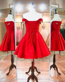 2020 Short Red Off SHoulder Homecoming Dress Custom Made Cute Cocktail Dress Fashion Short School Dance Dresses Sweet 16th Dresses HD216