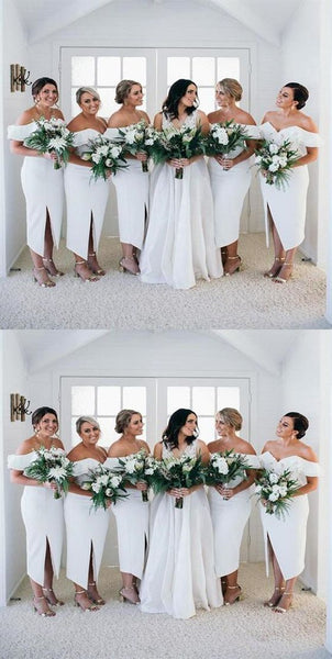 2020 Off Shoulder Short Side Slit Bridesmaid Dresses Custom Made Fashion Wedding Party Dresses BD127