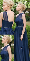 Simple One Shoulder Strap Chiffon Long Bridesmaid Dress with Beaded Waist Custom Made Long Navy Wedding Party Dresses BD056