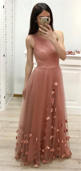 One Shoulder Long Tulle Prom Dress Custom Made Long Floor Length Evening Gowns Fashion Long School Dance Dress Women's Pagent Dresses PD937